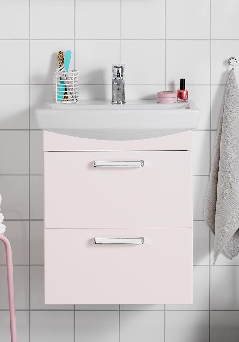 Picture of: Life 500 M Handvaskskab Inkl Skuffefront Lys Rosa Matt Hafa Baderum
